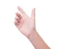белизна студии съемки предпосылки женской изолированная рукой Стоковое Изображение