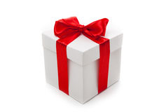 белизна тесемки подарка коробки красная Стоковые Фото
