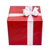 белизна тесемки подарка коробки красная Стоковое Изображение RF