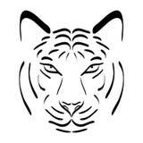 белизна тигра силуэта предпосылки головной изолированная иллюстрацией Значок тигра вектора иллюстрация вектора