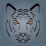 белизна тигра силуэта предпосылки головной изолированная иллюстрацией иллюстрация вектора