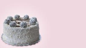 белизна торта предпосылки изолированная серым цветом Стоковое фото RF