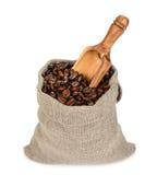 белизна фасолей мешка предпосылки изолированная кофе Стоковая Фотография RF