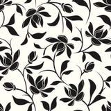 белизна черной флористической картины безшовная также вектор иллюстрации притяжки corel иллюстрация вектора