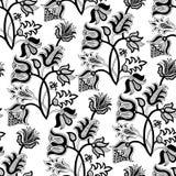 белизна черной флористической картины безшовная Стоковые Фотографии RF