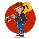 белизна человека предпосылки изолированная гитарой Стоковая Фотография