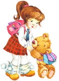 белизна школы isoalte девушки иллюстрация штока