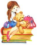 белизна школы isoalte девушки иллюстрация вектора