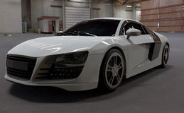Белизна audi r8 автомобиля Стоковая Фотография RF