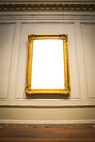 Белизна c богато украшенного экспоната музея художественной галереи картинной рамки внутренняя Стоковое Изображение