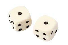 Белизна 2 dices изолированный на белизне Стоковые Изображения RF