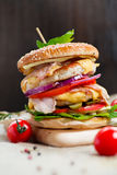 белизна dof бургера предпосылки свежая низкая вкусная Стоковое Изображение