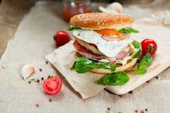 белизна dof бургера предпосылки свежая низкая вкусная Стоковая Фотография