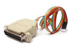 белизна lpt кабеля предпосылки изолированная компьютером Стоковые Изображения
