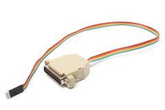 белизна lpt кабеля предпосылки изолированная компьютером Стоковое Фото