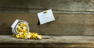 Белое ведро с попкорном Стоковые Изображения