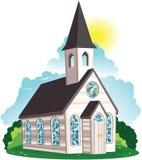 Белое здание церкви clapboard Стоковые Изображения RF