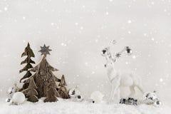 Белое и коричневое украшение рождества на деревянной предпосылке с r Стоковое Фото