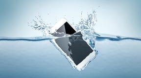Белое падение модель-макета smartphone в воду, бесплатная иллюстрация