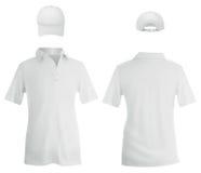 Белое поло и шаблон бейсбольной кепки иллюстрация вектора