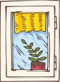 Белое пластичное окно с желтыми занавесом и заводом иллюстрация вектора