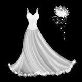 Белое платье свадьбы Стоковые Фото
