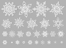Белое clipart вектора снежинок Стоковые Изображения