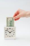 Белое moneybox будильника Стоковые Изображения
