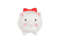 Белое moneybox свиньи Стоковая Фотография RF