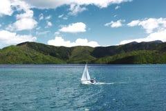 Белое Sailboot проходя звуки Malborough, Новую Зеландию Стоковое фото RF