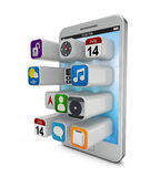 Белое smartphonew с прессуя значками app на иллюстрация штока