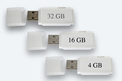 Белое USBs на белизне Стоковые Фото