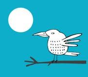 Белой птица нарисованная рукой на ветви Стоковое фото RF