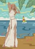 Белокурая девушка на пляже иллюстрация штока