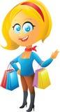 Белокурая девушка покупок Стоковые Фотографии RF