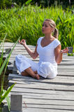 белокурая девушка 20s размышляя в зеленых surrondings Стоковое Фото
