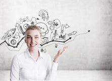 Белокурая женщина показывая startup эскизы на бетонной стене Стоковая Фотография