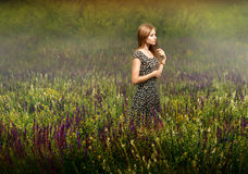 Белокурая женщина стоя среди wildflowers Стоковое Изображение RF