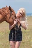 Белокурая женщина штрихуя gelding стоковое изображение rf