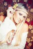 Белокурая женщина Hippie Стоковое фото RF