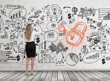 Белокурая схема, замок и ключ дела чертежа женщины Стоковая Фотография RF