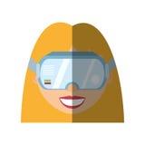 белокурая тень технологии стекел виртуальной реальности девушки Стоковое Фото