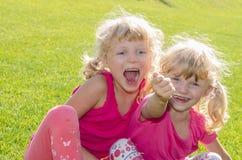 Белокурые девушки на траве Стоковая Фотография