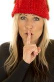 Белокурый близкий взгляд шляпы эльфа женщины shhh Стоковые Фото