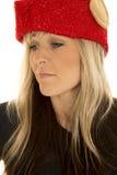 Белокурый взгляд близкого взгляда шляпы эльфа женщины вниз Стоковые Фото