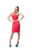 белокурый красный цвет платья Стоковые Изображения