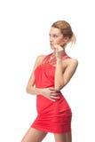 белокурый красный цвет платья Стоковое Изображение