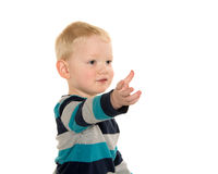Белокурый мальчик на белизне Стоковое фото RF