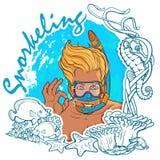 Белокурый мальчик snorkeling в рамке иллюстрация вектора