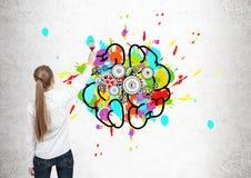Белокурый мозг чертежа женщины с cogs стоковое изображение